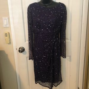 Dark purple beaded & sequin special occasion dress